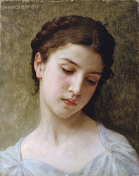 William-Adolphe Bouguereau: Head of a Young Girl