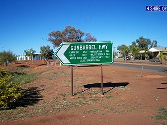 Gunbarrel Highway - Sign at Wiluna, Western Australia.