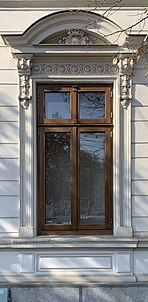 Window of the house with number 17 on strada Mantuleasa, from Bucharest (Romania).jpg
