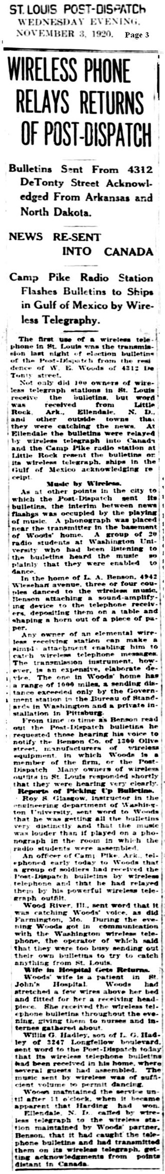 KZQZ - Image: Wireless Phone Relays Returns of Post Dispatch 03NOV1920