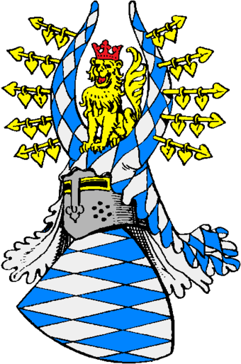 Coat of arms (13th to 14th century). The white-and-blue lozenges came to the family when Otto II Wittelsbach, Duke of Bavaria acquired the county of Bogen in 1240 Wittelsbach-Bayern-Wappen.png