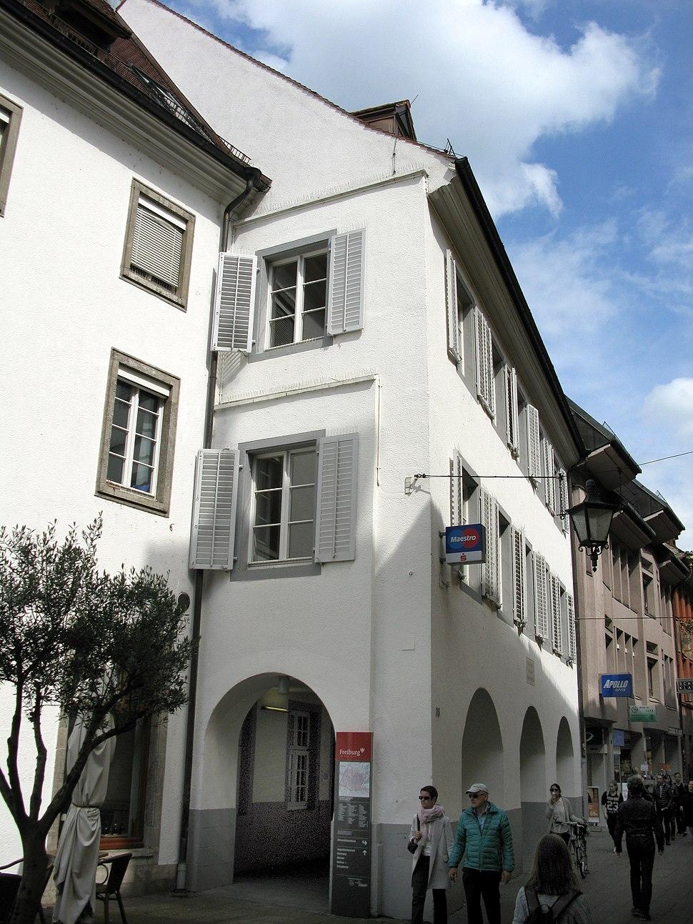 Wohn- und Sterbehaus Karl von Rottecks in Freiburg Rathausgasse 33