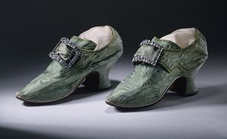 Shoe buckle - Woman's silk damask shoes with buckles, 1740-1750, England.  Los Angeles County Museum of Art, M.81.71.1a-b.