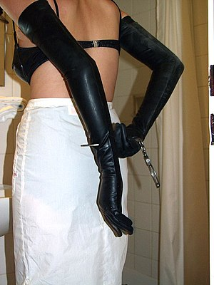 English: A diapered woman in selfbondage 8