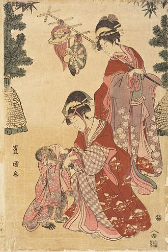 """Monkeys in Japanese culture - """"Women dressed as monkey trainers for New Year's dancing"""", Utagawa Toyokuni, c. 1800."""