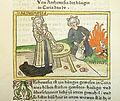 Woodcut illustration of Artemisia II of Caria drinking the ashes of her husband Mausolus - Penn Provenance Project.jpg