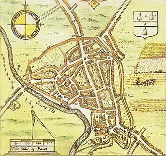Siege of Worcester - Worcester City and its walls from John Speed's The Counties of Britain, 1610