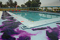 Worker at the al-Amana swimming pool put purple dye into a wading pool in preparation for the grand re-opening Aug. 7, 2008 080807-A-YE931-031.jpg