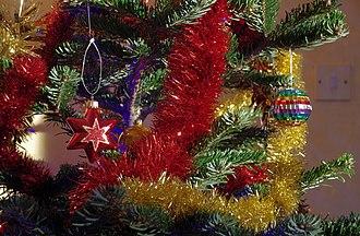 Tinsel - Tinsel on a Christmas tree