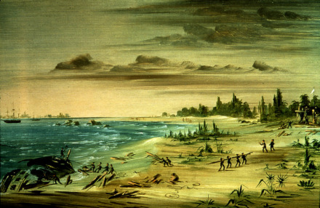 Wreck of the Aimable, on the Coast of Texas. 1685