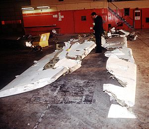 Arrow Air Flight 1285 - Wreckage from Arrow Air Flight 1285 in storage at a Gander Airport hangar on December 16, 1985
