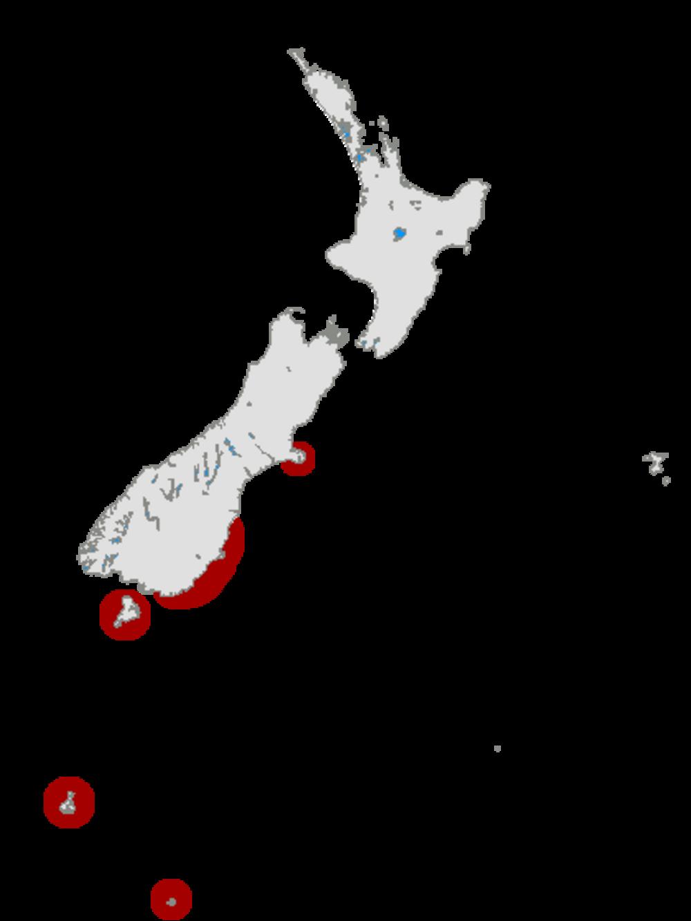 Yellow-eyed Penguin distribution map