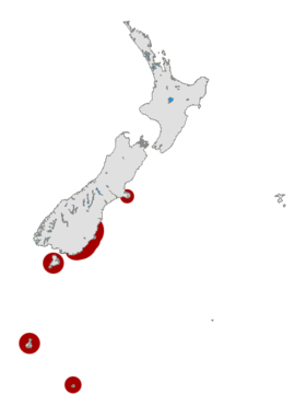 Yellow-eyed Penguin distribution map.png