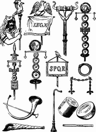 Roman military personal equipment - Roman ensigns, standards, trumpets etc.