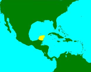 In giallo è evidenziata la penisola dello Yucatán