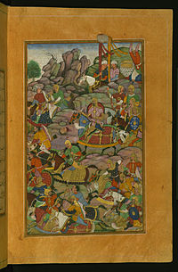 Zahir al-Din Muhammad Babur - Final Phase of the Battle of Kandahar on the Side of the Murghan Mountain - Walters W59620B - Full Page.jpg