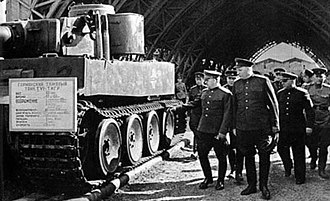 Marshal Georgy Zhukov inspecting a Tiger captured by the Red Army in 1943 Zhukov at the Tiger tank.jpg