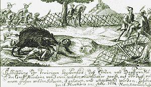 Miklós Zrínyi - Contemporary drawing showing the death of Zrínyi on 18 November 1664.