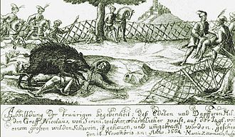 Miklós Zrínyi - Contemporary drawing showing the death of Zrínyi on 18 November 1664.