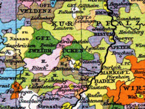 Nassau-Saarbrücken - County of Nassau-Saarbrücken (yellow, left), about 1400