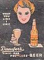 """DAEUFER'S PEERLESS BEER"" ""SINCE 1848"" ""WHAT YOU LIKE I LIKE"" ""DAEUFER LIEBERMAN BREWERY"" ""ALLENTOWN, PENNA."" ""Allentown's Favorite"" beer ad detail, 1937 - Daeufers Beer Matchover Allentown PA (cropped).jpg"