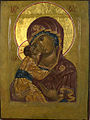 """Theotokos"" ""Eleusa"" (Merciful) egg tempera, gold leaf on wood, sm 32x24.jpg"