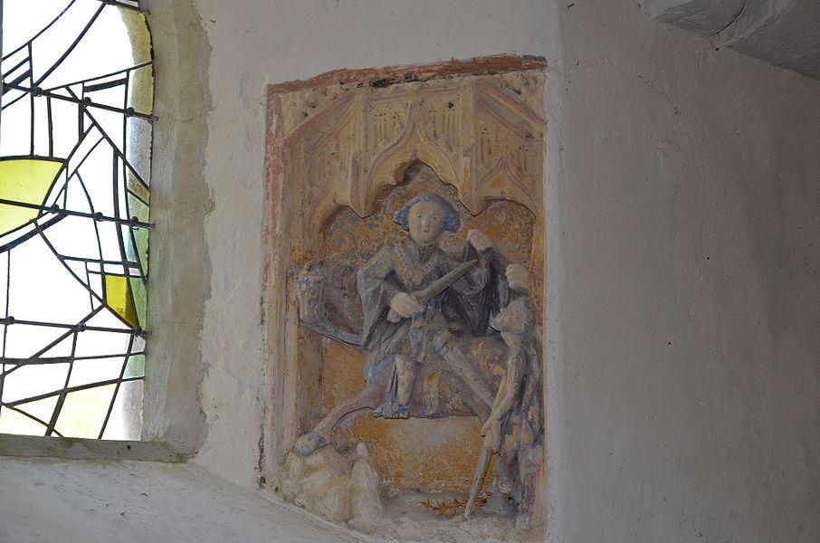 Bas-relief représentant la Charité de Saint Martin en l'église Saint-Martin d'Éculleville.
