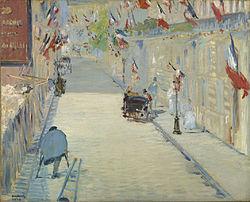 Édouard Manet: La Rue Mosnier aux drapeaux