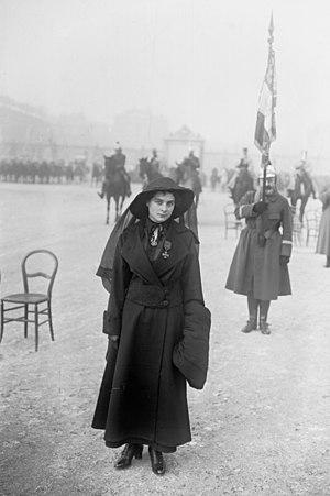 Émilienne Moreau-Evrard - Émilienne Moreau wearing the Croix de guerre in Versailles, 27 November 1915