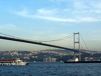 Istanbul bid for the 2020 Summer Olympics - The Intercontinental Istanbul Eurasia Marathon crosses the Bosphorus Bridge from Asia to Europe.