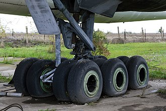 Tupolev Tu-142 - The 12-wheel undercarriage of the early Tu-142 aircraft built at the Kuibyshev Aviation Plant (2011)