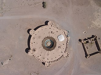 Inn - Aerial view of Zein-o-din caravanserai near Yazd, Iran, one of a few circular caravanserai.