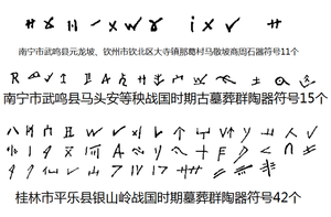 Sawgoek - Examples of stone and pottery inscriptions from artefacts unearthed in Wuming, Pingle, and Qinzhou, Guangxi