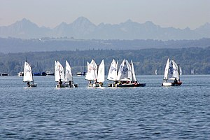 Lake Ammersee with sailboats
