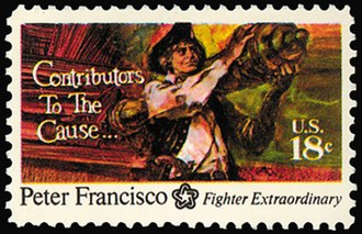 Peter Francisco - Postage stamp depicting Francisco's feat of strength at Camden