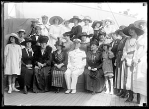 William Banks Caperton - Reception to Admiral William Caperton (center) during his arrival at the port of Montevideo in 1917.