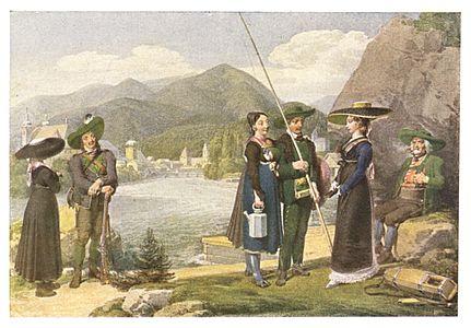 050 Trachtengruppe bei Leoben - Aquarell von Karl Ruß - 1811.jpg