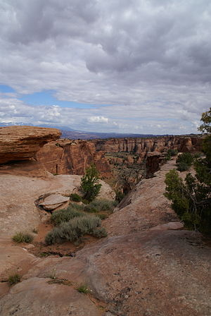 A landscape of a park in Moab, Utah.