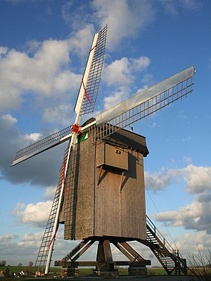 "Moulbaix (Belgium), the windmill ""of the Marquise"" built in Blicquy built in the early (XVIIth century), transferred in 1747 to its present location and returned to service in 1756 under the leadership of its owner the Marquess of Chasteleer."
