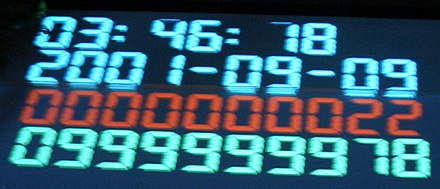 Unix time passed 7009100000000000000♠1000000000 seconds in 2001-09-09T01:46:40Z. It was celebrated in Copenhagen, Denmark at a party held by DKUUG (at 03:46:40 local time). 1000000000seconds.jpg