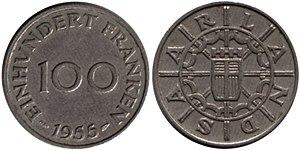 Saar Protectorate - 100 Saar franken coin