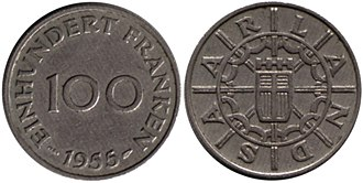 Franc - 100 Saar francs reverse and obverse