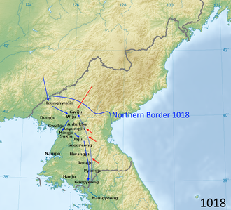 Third conflict in the Goryeo-Khitan War, 1018 1018 Goryeo Khitan invasion.png