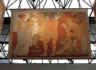 Joaquín Torres-García - Image: 117 Centre Cultural Terrassa, Melioribus annis, mural de Joaquim Torres Garcia