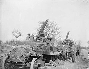 13 pounder 9 cwt AA guns at Cambrin Mar 1918 IWM Q 8559.jpg