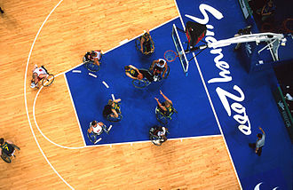 Wheelchair basketball at the 2000 Summer Paralympics - Australian men's wheelchair basketball team from above during 2000 Summer Paralympics match