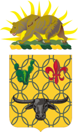 Shield: Or, chain mail Vert, in chief a prickly pear cactus of the last and a fleur-de-lis Gules and in base a carabao affronté Sable. Crest: That for the regiments and separate battalions of the California Army National Guard: On a wreath of the colors Or and Vert, the setting sun behind a grizzly bear passant on a grassy field all Proper.