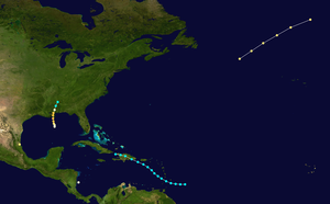 1855 Atlantic hurricane season - Image: 1855 Atlantic hurricane season summary map