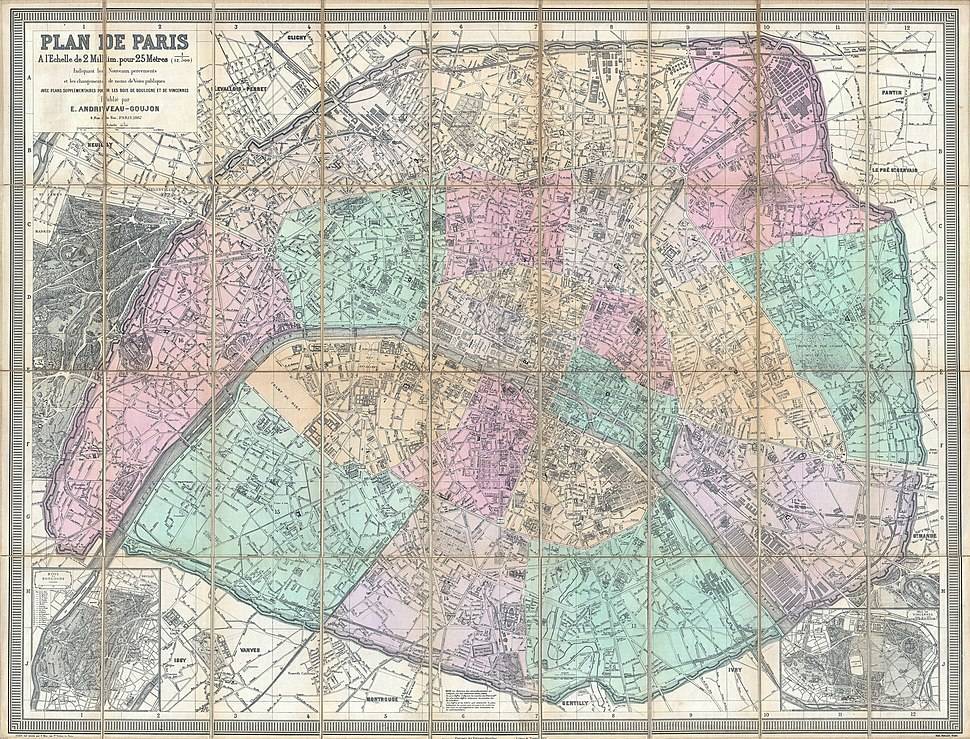 1882 Andriveau-Goujon Pocket Map of Paris, France - Geographicus - Paris-andriveau-1882