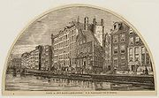 A woodcut (1885) of the Nieuwezijds Voorburgwal, a canal that is now a filled up